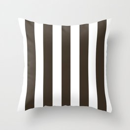 Cola brown - solid color - white vertical lines pattern Throw Pillow