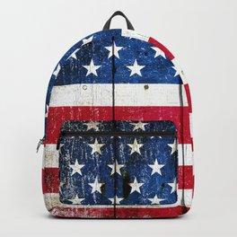 Distressed American Flag On Wood Planks - Horizontal Backpack