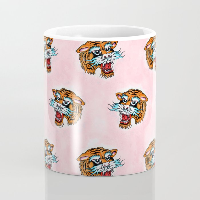 Fierce Tiger Pattern Pink dream Coffee Mug