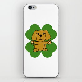 Dog On Four Leaf Clover- St. Patricks Day Funny iPhone Skin