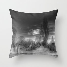 Ghostly Kensal Green Cemetery London Throw Pillow
