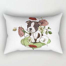 Boston Terrier Puppy Bouquet Rectangular Pillow