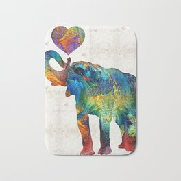 Colorful Elephant Art - Elovephant - By Sharon Cummings Bath Mat