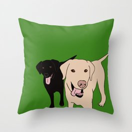Tanner and Lily Best Labrador Buddies Throw Pillow