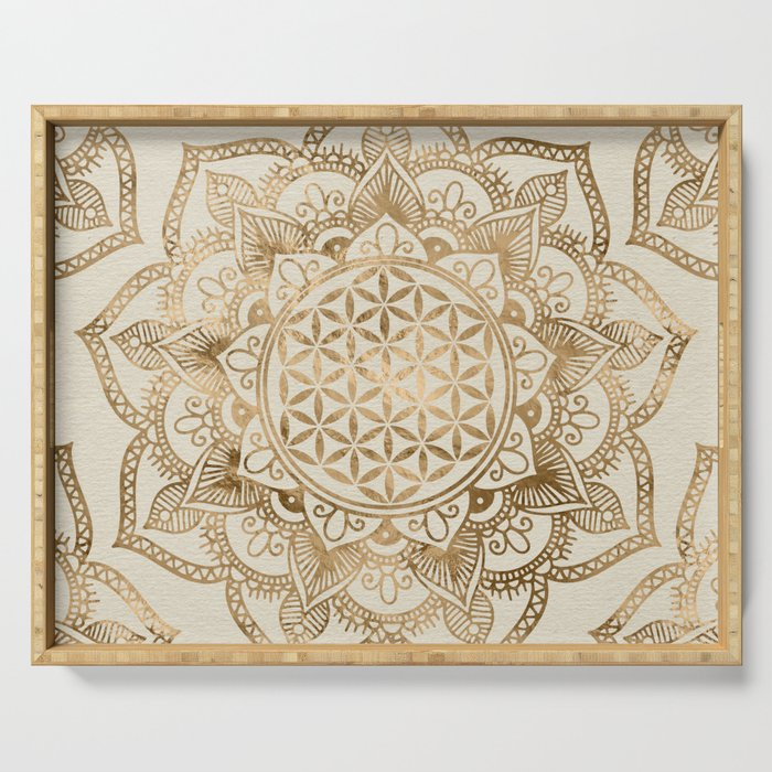 Flower of Life in Lotus - pastel golds and canvas Serving Tray