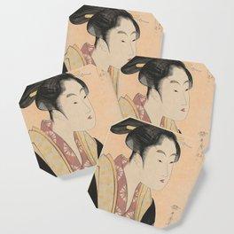 Vintage Japanese Ukiyo-e Woodblock Print Woman Portrait II Coaster