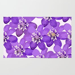 Purple wildflowers on a white background - spring atmosphere Rug
