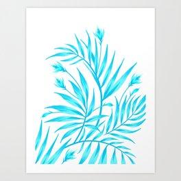 Waikiki Palm - White / Aqua Art Print