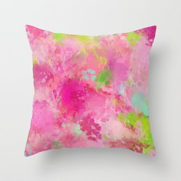 Pink neon green abstract look Throw Pillow