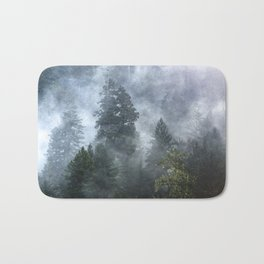 Smoky Redwood Forest Foggy Woods - Nature Photography Bath Mat
