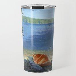 canoe on shore Travel Mug