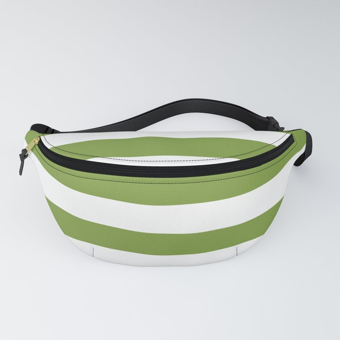 Green and White Stripes Fanny Pack