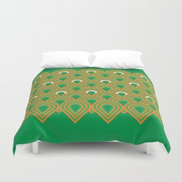 retro sixties inspired fan pattern in green and orange Duvet Cover