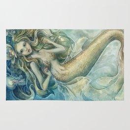 mermaid with Flowers in her hair Rug
