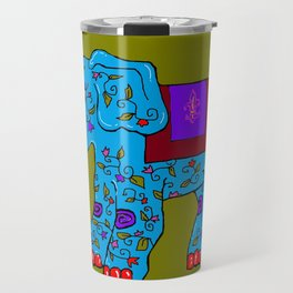 Blue Elephant with Pink Fleur de Lis Travel Mug
