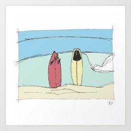Boards on the beach Art Print