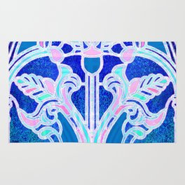 Art Nouveau Blue and Pink Batik Texture Rug