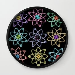 Gold and Silver Atomic Structure Pattern Wall Clock