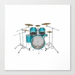 Green Drum Kit Canvas Print