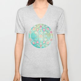 Floral Moroccan in Spring Pastels - Aqua, Pink, Mint & Peach Unisex V-Neck