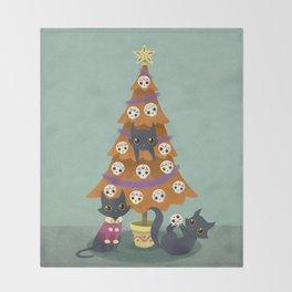 Meowy christmas sugar skulls Throw Blanket