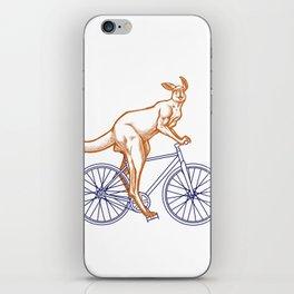 Kangaroo on a bike iPhone Skin