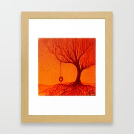 Autumn Tree with Tire Swing Orange Giclee Art Print - Kids Room Wall Art - Childhood Painting Framed Art Print