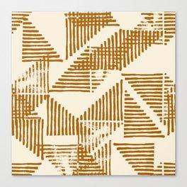 Stripe Triangle Block Print Geometric Pattern in Orange Canvas Print