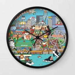 Seattle cats Wall Clock