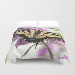 Western Tiger Swallowtail on the Neighbor's Butterfly Bush Duvet Cover