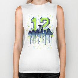 Seattle 12th Man Art Skyline Watercolor Biker Tank