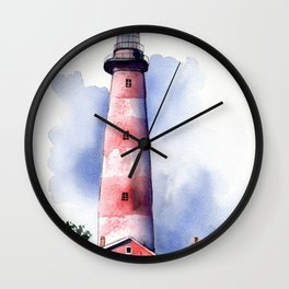 Assateague Light Watercolor and ink Painting Wall Clock
