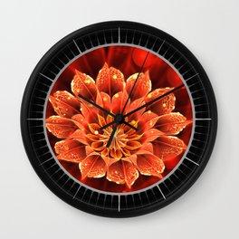 Red Dahlia Fractal Flower with Beautiful Bokeh (Vivid Crimson) Wall Clock