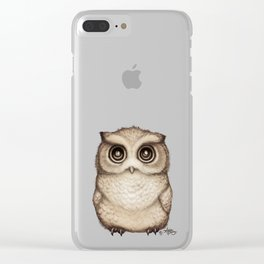 """""""The Little Owl"""" by Amber Marine ~ Graphite & Ink Illustration, (Copyright 2016) Clear iPhone Case"""