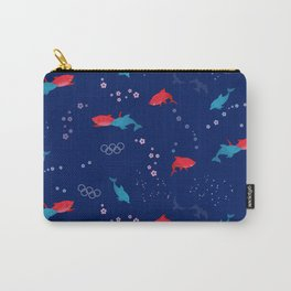 Blue Dolphin and Red Shark Olympic Carry-All Pouch