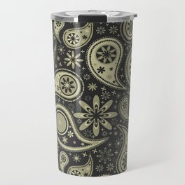 Brown and Tan Paisley Design Pattern Background Travel Mug