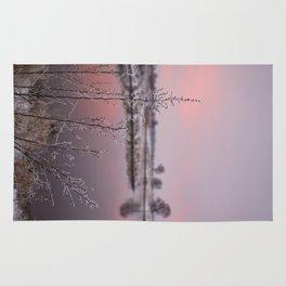 Winter Sunset At River Bank Rug