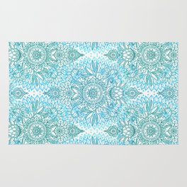 Turquoise Blue, Teal & White Protea Doodle Pattern Rug