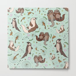 Sea Otters Metal Print