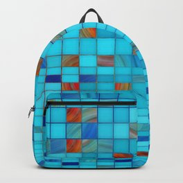 Blue And Red Geometrical Art - Block Party 1 - Sharon Cummings Backpack
