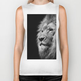 Lion Black and white Biker Tank