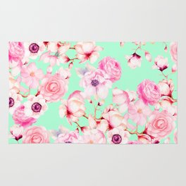 Girly Blush Pink Floral Pattern on Mint Green Rug