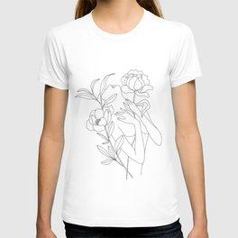 Minimal Line Art Woman with Peonies T-shirt