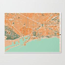 Barcelona city map orange Canvas Print