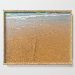 Soft Ocean Waves On Beach, Sea Wave Crushing, Beach Shore, Golden Sands, Summer Vacation Serving Tray