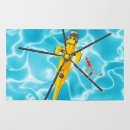westland yellow helicopter w-surfer Rug