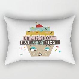 Cupcake eating ice cream Rectangular Pillow