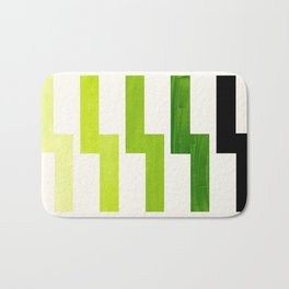 Minimalist Mid Century Modern Sap Green Watercolor Painting Lightning Bolt Zig Zag Pattern With Blac Bath Mat