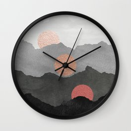 Abstract Mountains // Shades of Black and Grey Landscape Full Metallic Gold Moon Wall Clock