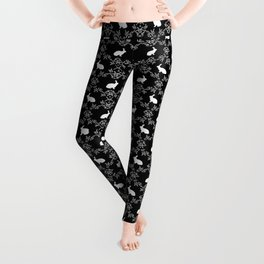 Rabbit pet silhouette floral rabbits bunny gifts cute minimal pets black and white Leggings